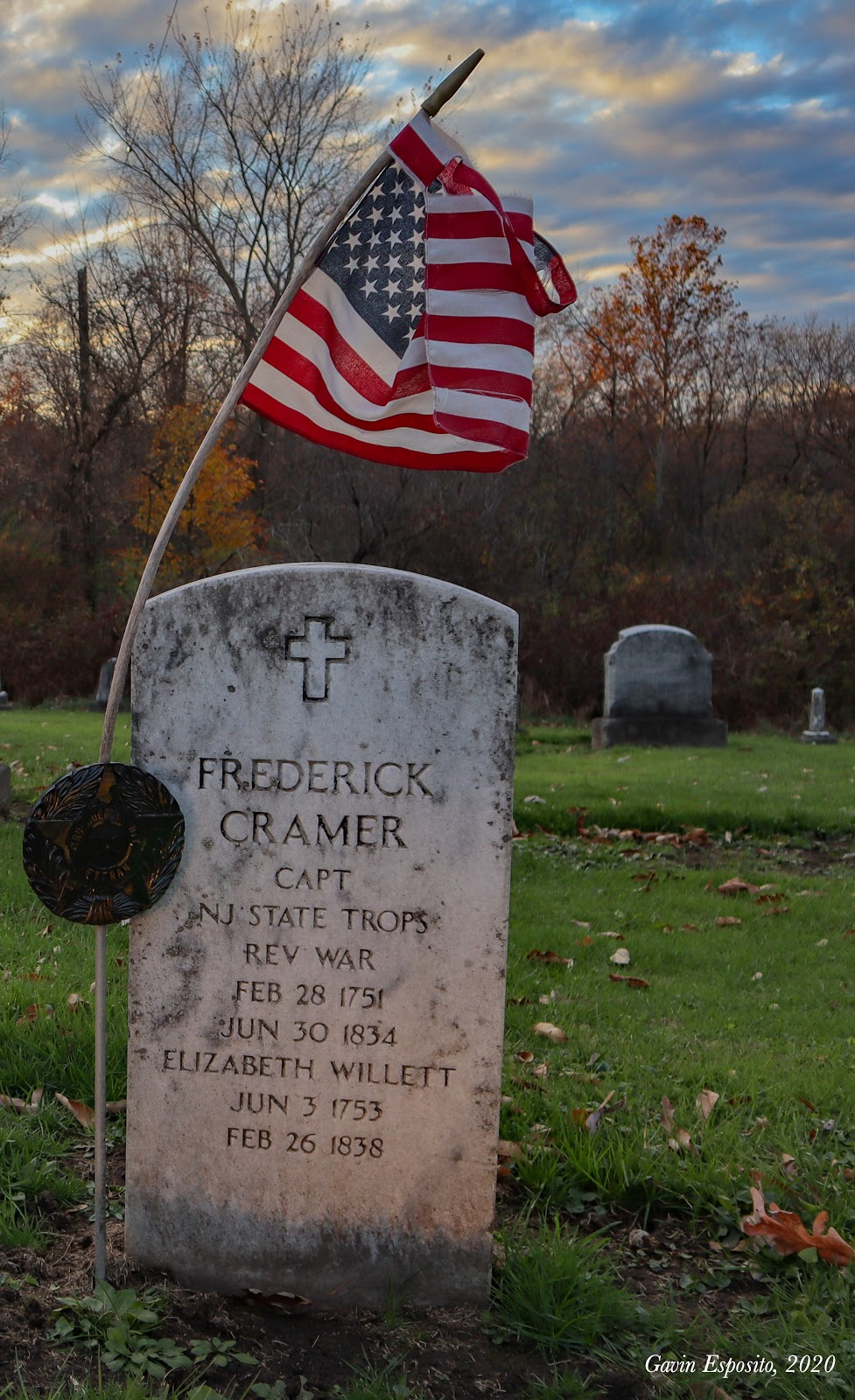 Erected by a descendent within the last decade,  Frederick and Elizabeth Cramer's headstone is the newest in Old North (Photo by Gavin Esposito).