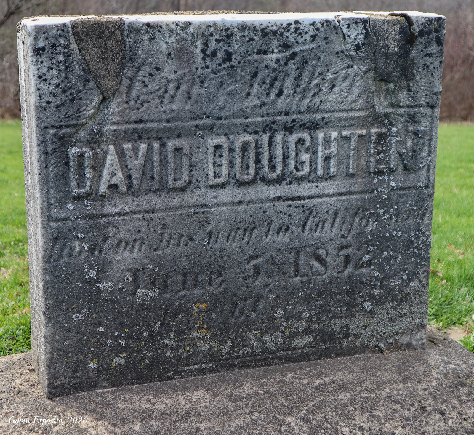 "Although his remains lie on the Wyoming prairie, a headstone for David Doughten stands in Old North Cemetery, inscribed with the epipath ""Our Father, David Doughten - died on his way to California, June 5, 1852 - Aged 61 yrs."" (Photo by Gavin Esposito)."